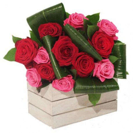 Red & Pink Rose Box